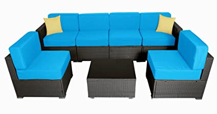 Merveilleux MCombo 6082 7PC Bigger Size Outdoor Furniture Luxury Patio Thick(6u201d)  Cushions Wicker