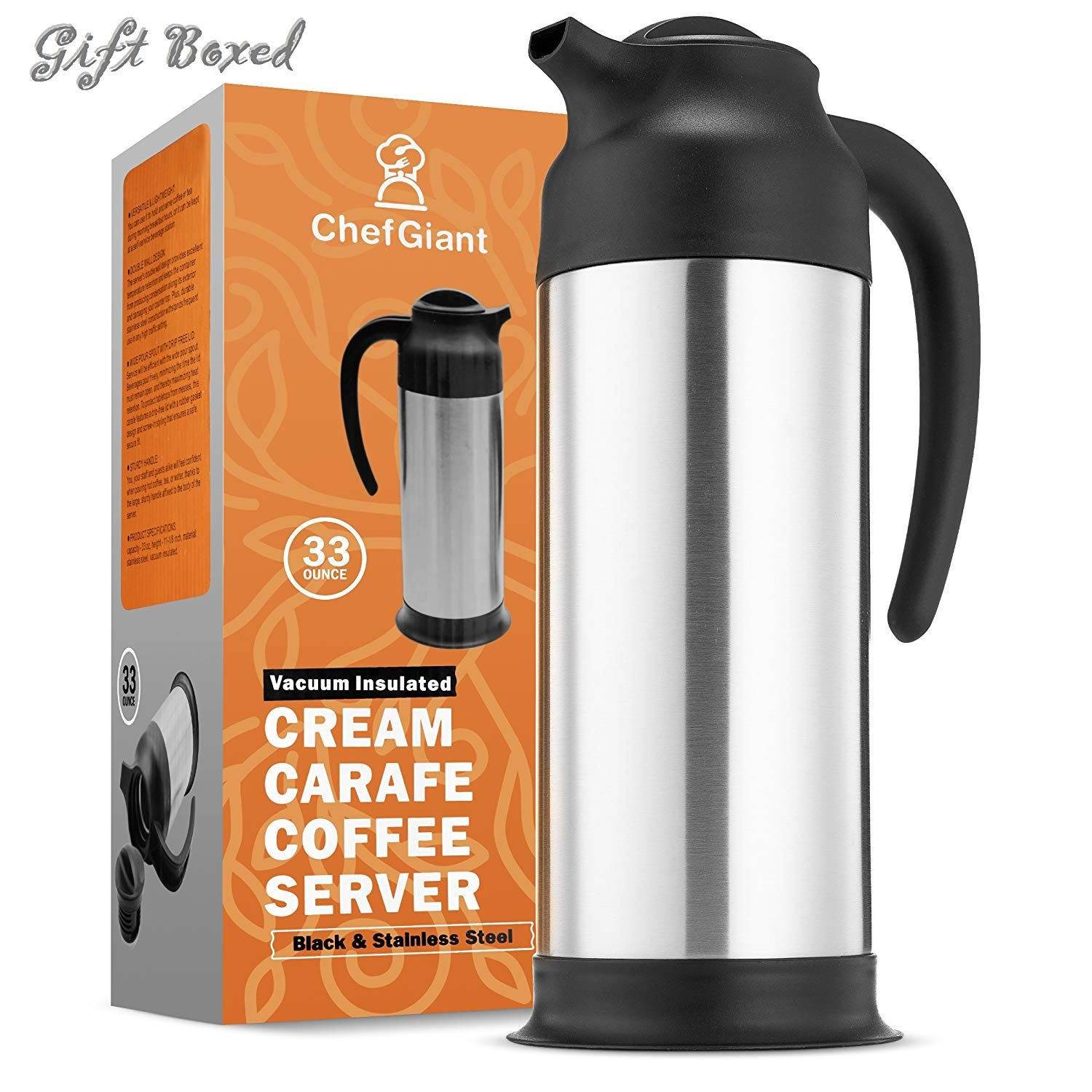ChefGiant Coffee Thermal Carafe, 33 oz/1 Liter Insulated Cream Milk Server, Hot and Cold Beverage Water Dispenser, Stainless Steel 201 Interior & Exterior, Slim for Easy Handle & Travel