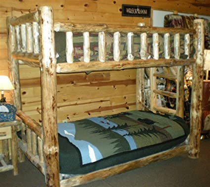 Amazon Com Rustic Pine Bunk Bed Twin Over Twin Kitchen Dining