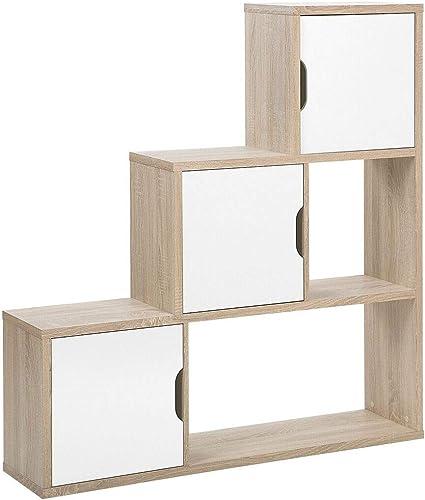 beliani meuble de rangement salta forme d escalier bois clair et blanc 3 portes
