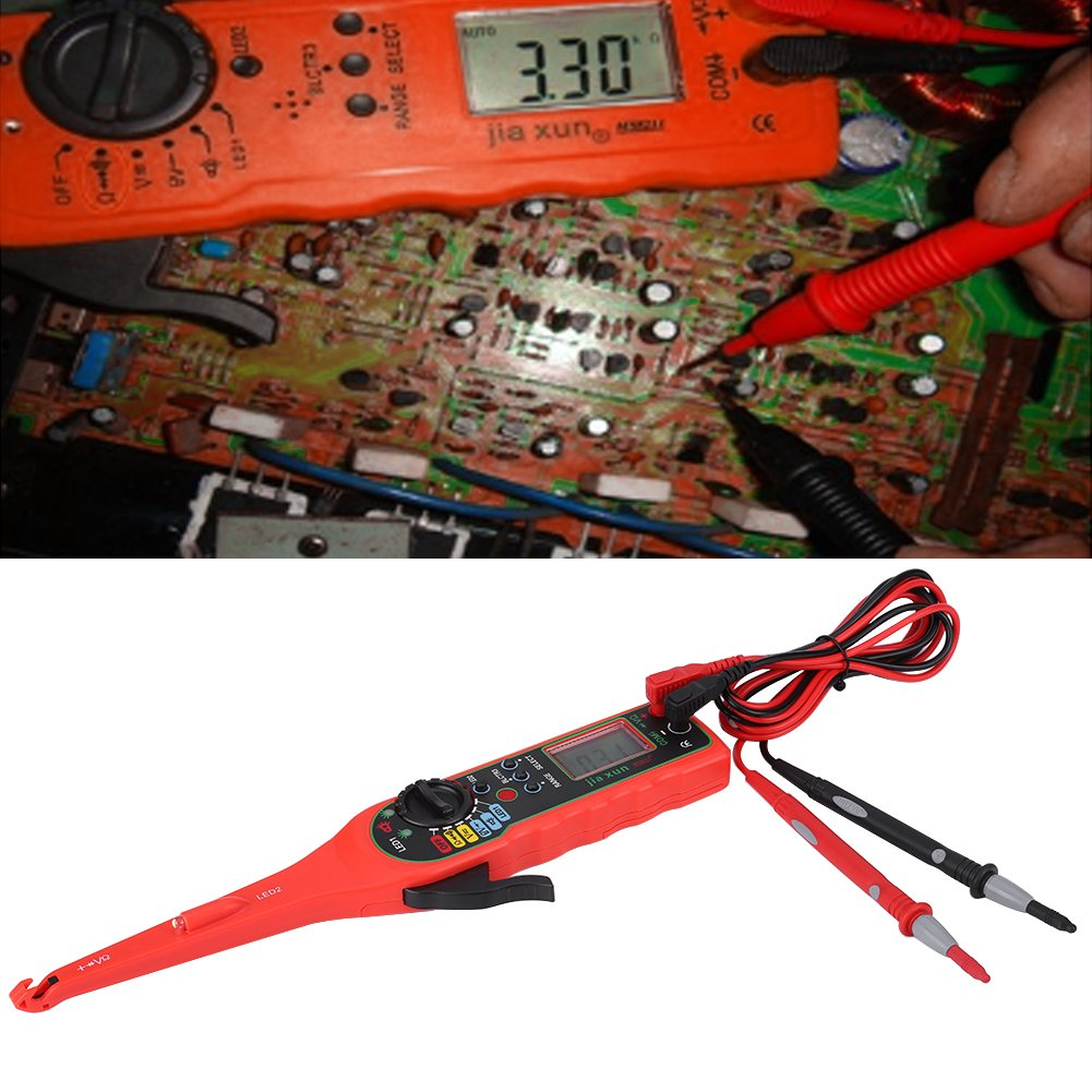 4 in 1 Auto Circuit Tester Multimeter Lamp Car Repair Automotive Electrical Diagnostic Tool ((Multimeter +Test lamp +Lighting Lamp + Probe)(Red) by Walfront (Image #3)