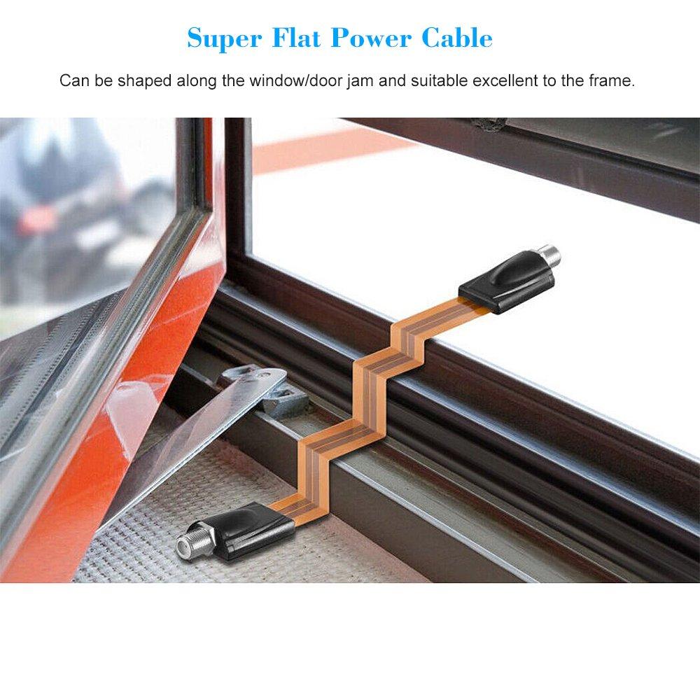 Top OWSOO Extrem dünne Flache Stromkabel F-Stecker passt unter Türen RK64