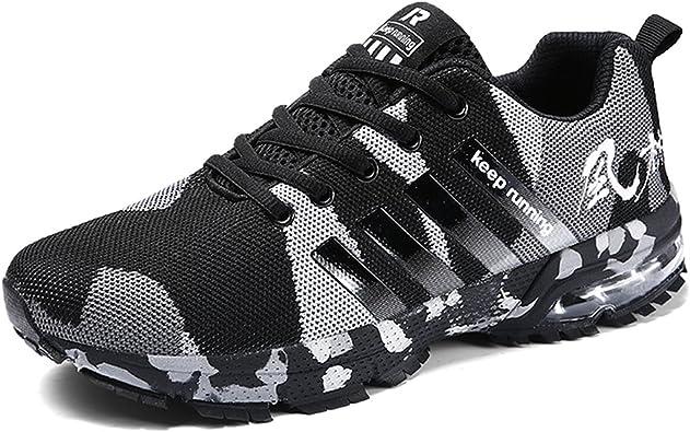 Senbore - Zapatillas de Running de Sintético para Hombre Gris Gris 44.5 EU, Color Negro, Talla 47 EU: Amazon.es: Zapatos y complementos