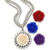 Set of 4 Rose Flower Pendants, Necklace Boxed Gift Set for Women, Bridesmaids Gift