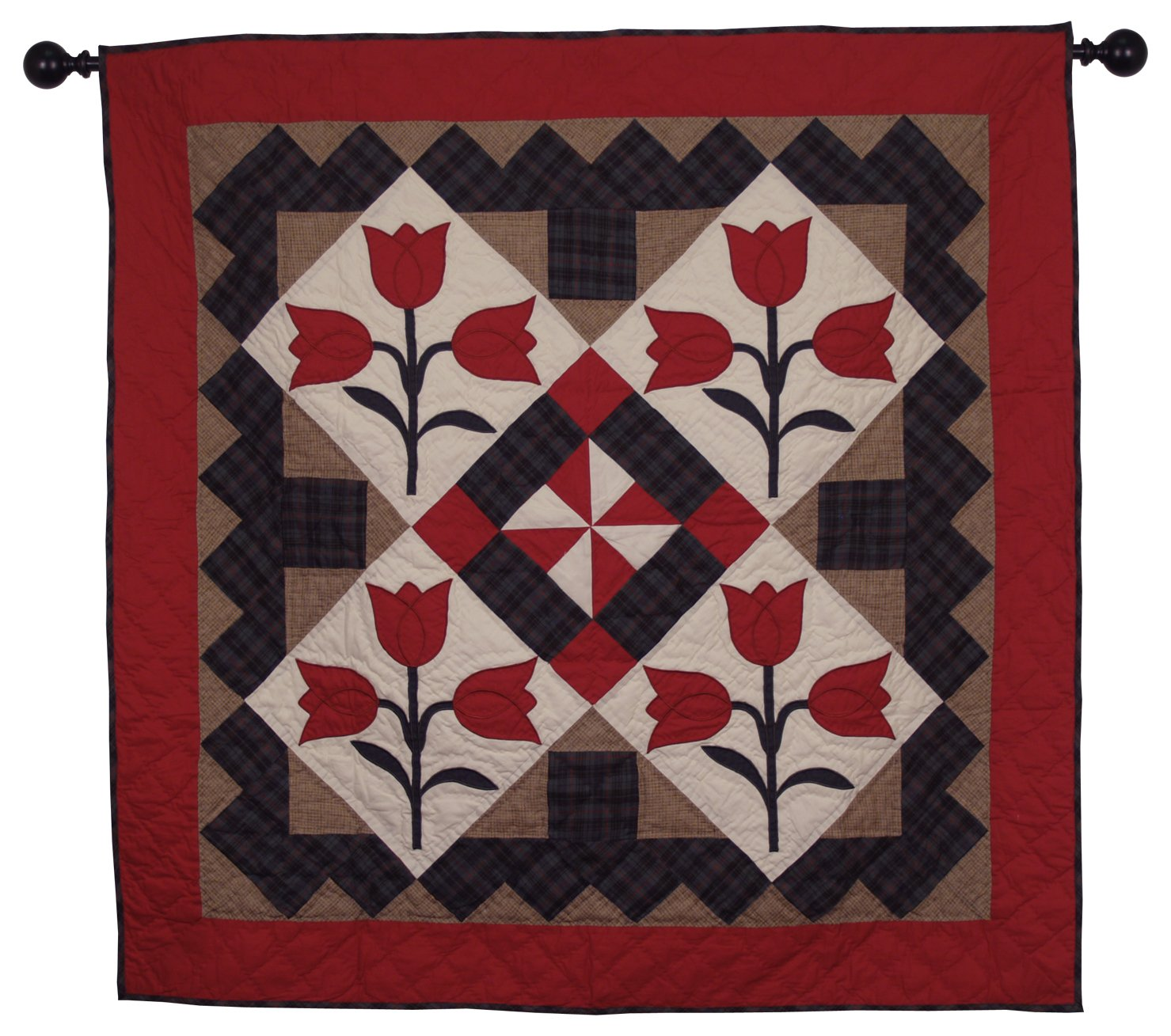 Tulip Wall Hanging Quilt 44 Inches by 44 Inches 100% Cotton Handmade Hand Quilted Heirloom Quality
