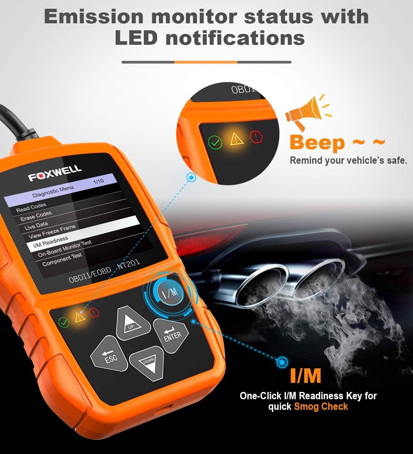 OBD2//OBD II Car Engine Diagnostics Code Reader Auto Diagnostic Scan Tool Automotive Scanners for 2000 or Later US,European and Asian OBDII Vehicle FOXWELL NT201 Orange