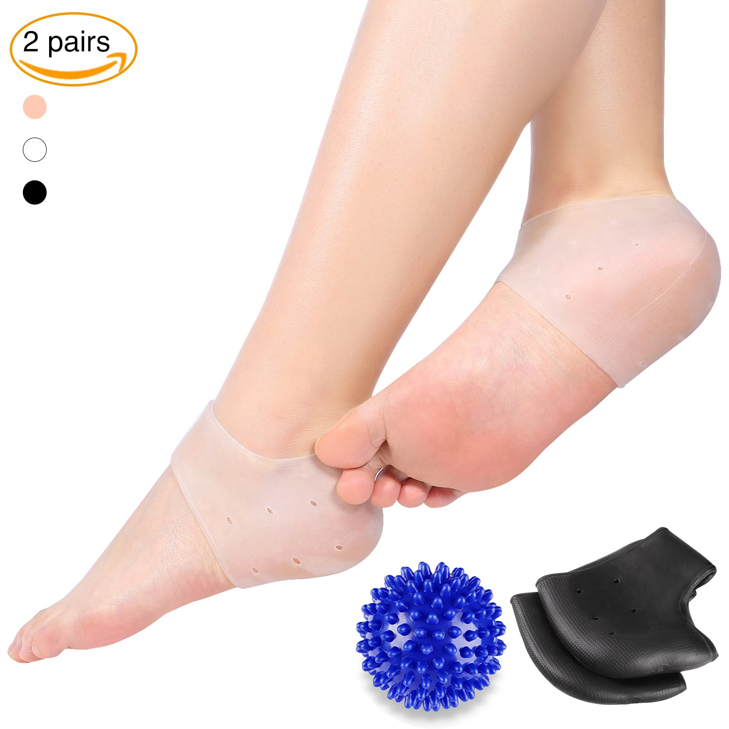 2 Pairs Moisturizing Silicone Gel Heel Socks Foot Care with Massage Ball, Plantar Fasciitis Pain Relief Pads Yosoo®