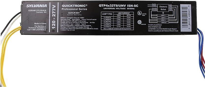 120//277v 50//60hz 4-Lamp Ballast Sylvania//Osram QHE//QTP 4x32T8//UNV ISL//N-SC