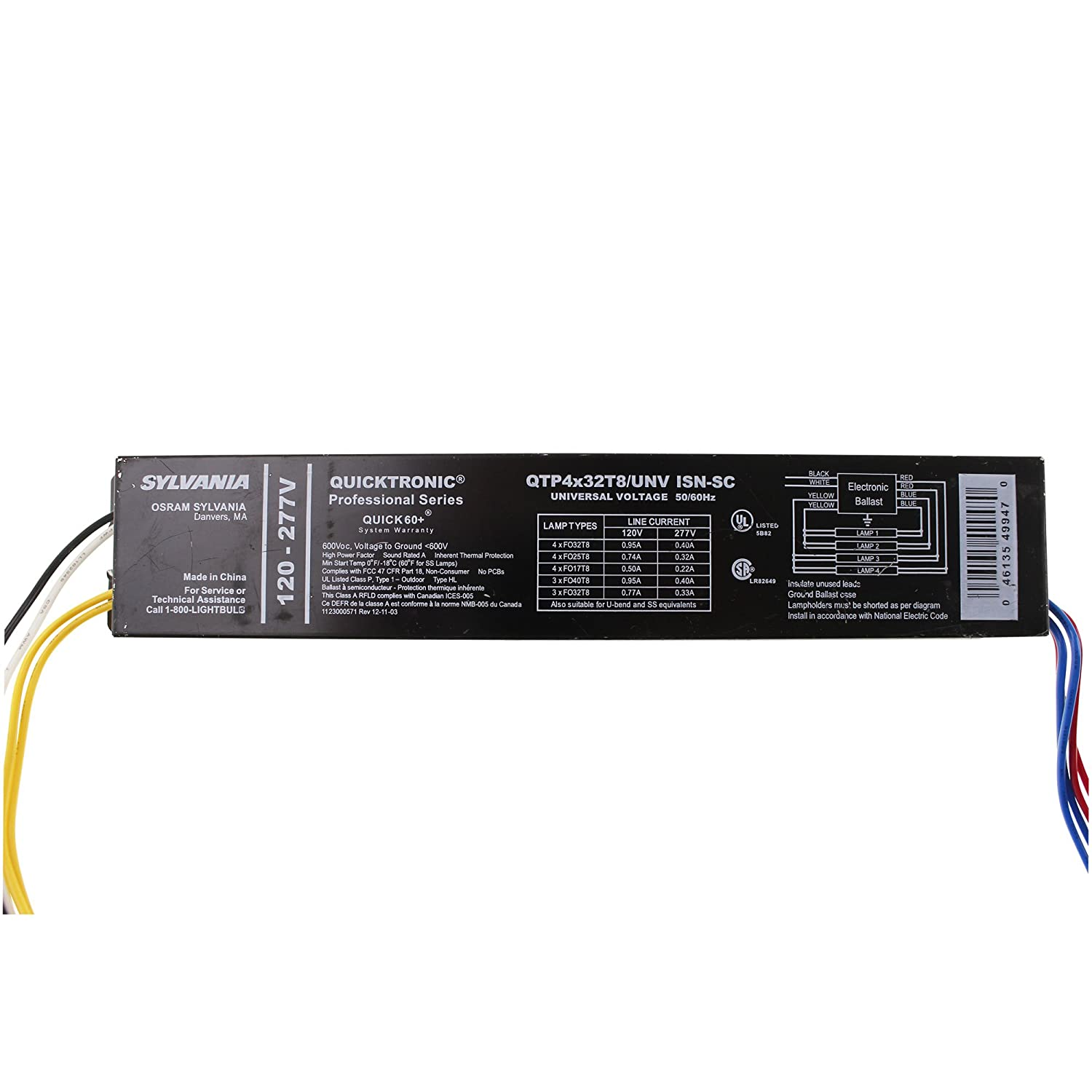 OSRAM SYLVANIA QTP4x32T8/UNV-ISN-SC (49947) 4 FLUORESCENT Ballasts- Fluorescent-HID - Electrical Ballasts - Amazon.com
