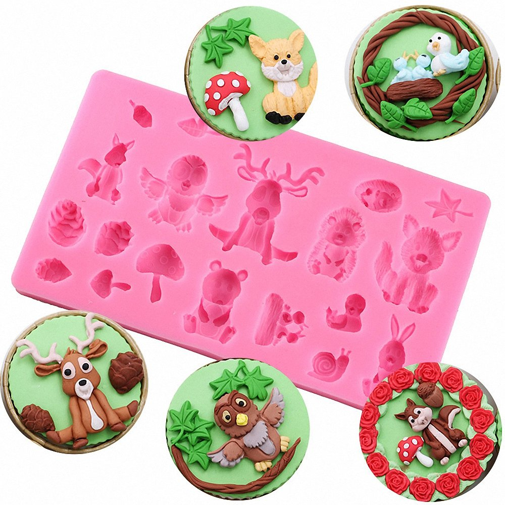 MoldFun Forest Animals Themed Fox Deer Rabbit Squirrel Owl Bird Silicone Mold for Fondant Chocolate Candy Gum Paste Polymer Clay Resin Kitchen Baking Sugar Craft Cake Cupcake Decorating Tools