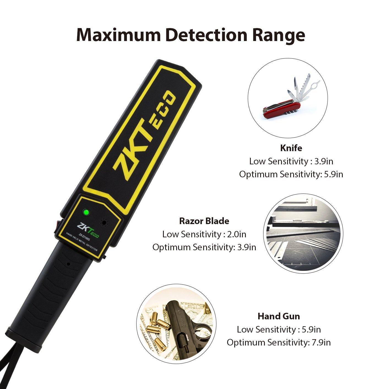 ZKTeco portátil Detector de metales de mano, escáner de alta sensibilidad de seguridad con ajustable Sensibilidad para inspección de seguridad: Amazon.es: ...