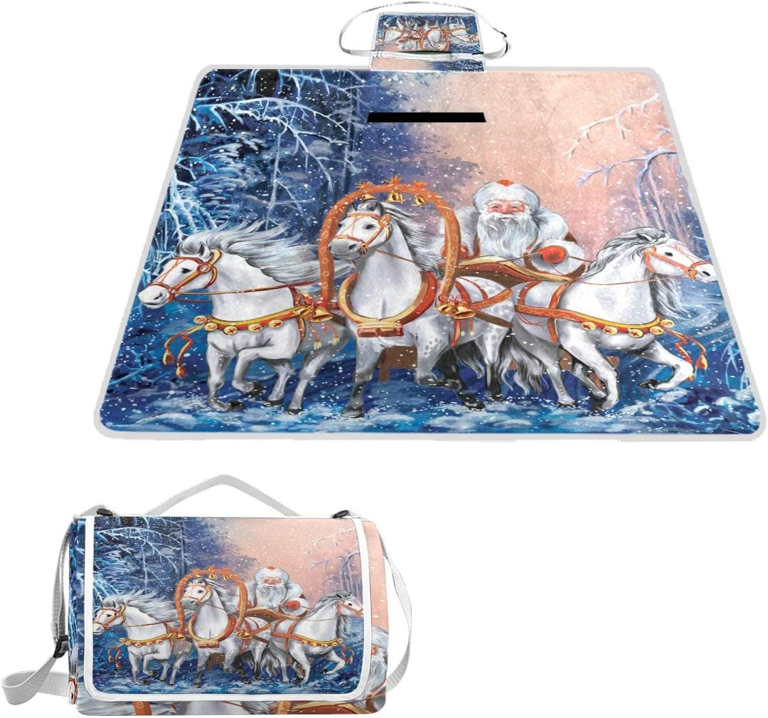 TIZORAX - Manta de Picnic, diseño Ruso de Tres Caballos con Papá Noel, Impermeable, Plegable, para Picnic, Playa, Camping, Senderismo