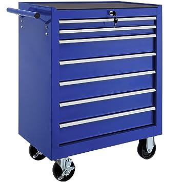 TecTake Carro de herramientas con ruedas | 7 cajones con cerradura | -varios modelos- (Azul | No. 402801): Amazon.es: Bricolaje y herramientas