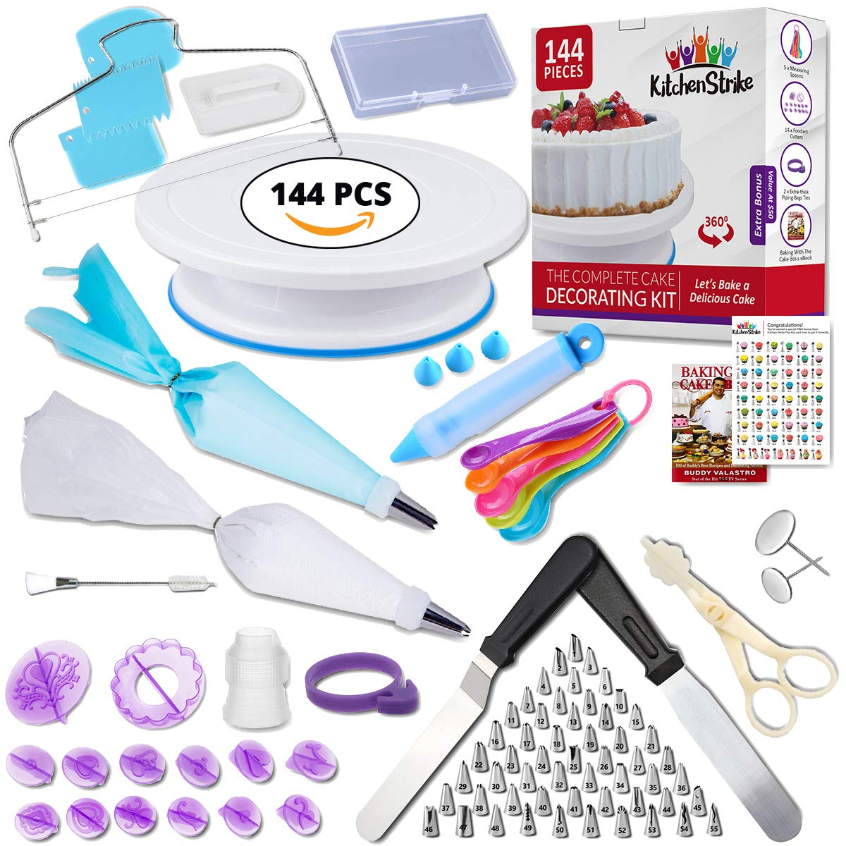 Kitchen Strike Cake Decorating Kit - The Complete 144 Pieces Set With Extra Bonus Accessories Of Fondant Tools, Spoons, Piping Bag Ties and Book - Smooth Spinner Turntable With Non-slip Silicone Base by Kitchen Strike