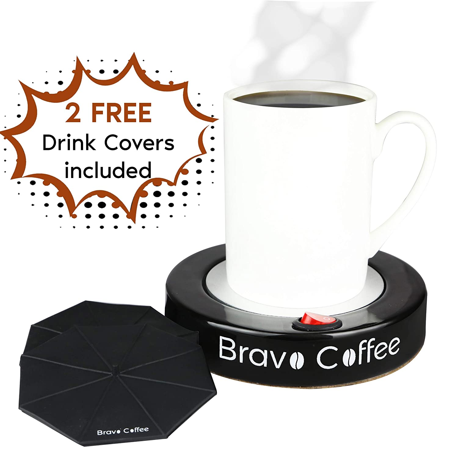 "Bravo Line Coffee Mug Warmer with Automatic Shutoff – Best Electric Beverage Warmer for Desk – Extra Large – 3.87"" with 2 FREE Drink Covers – Perfect Drink Warmer for All Cups and Mugs"