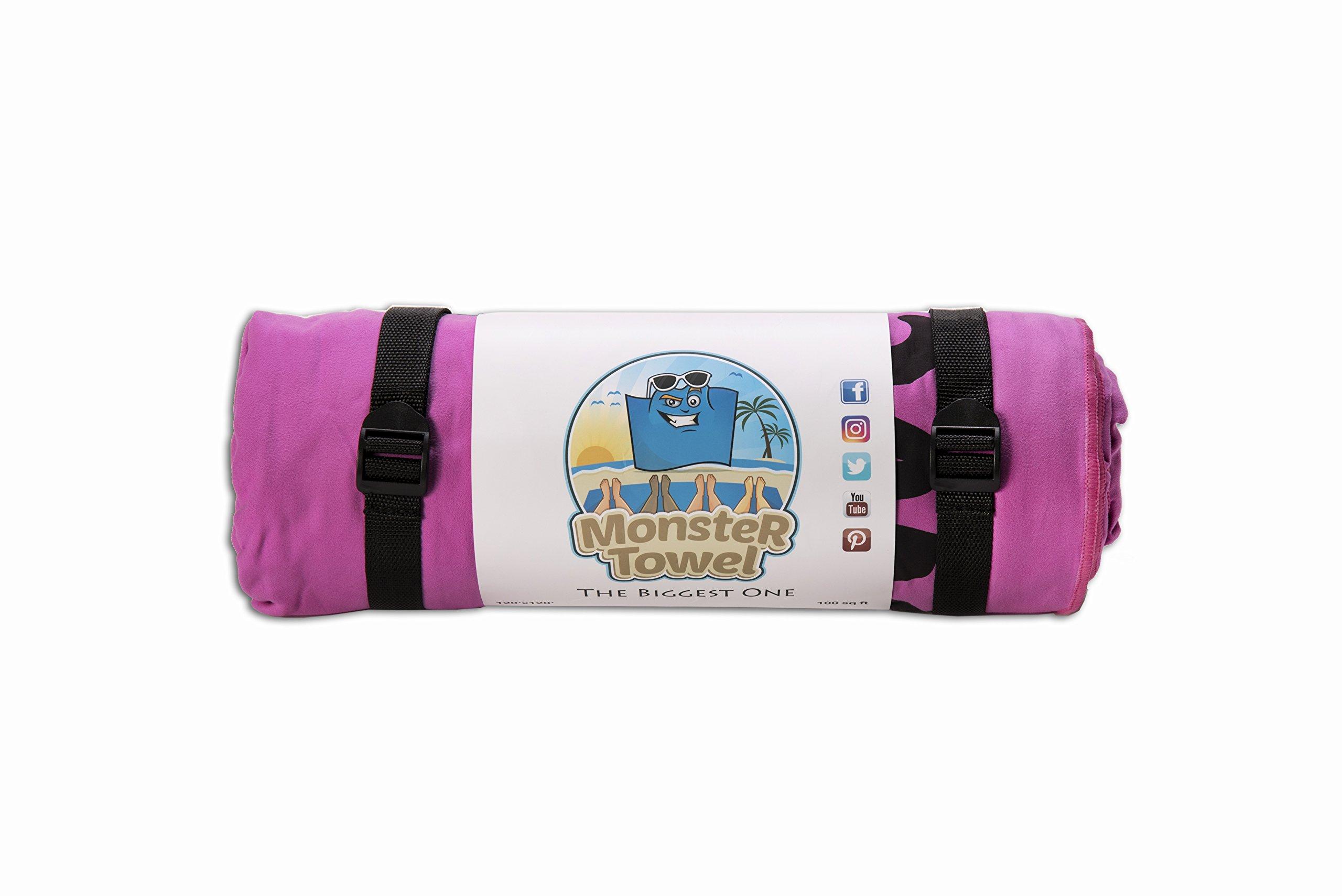 Monster Towel The Worlds Biggest Towel. Big Beach Towel Microfiber Oversized Large Huge Beach Towel(Sunrise Pink)