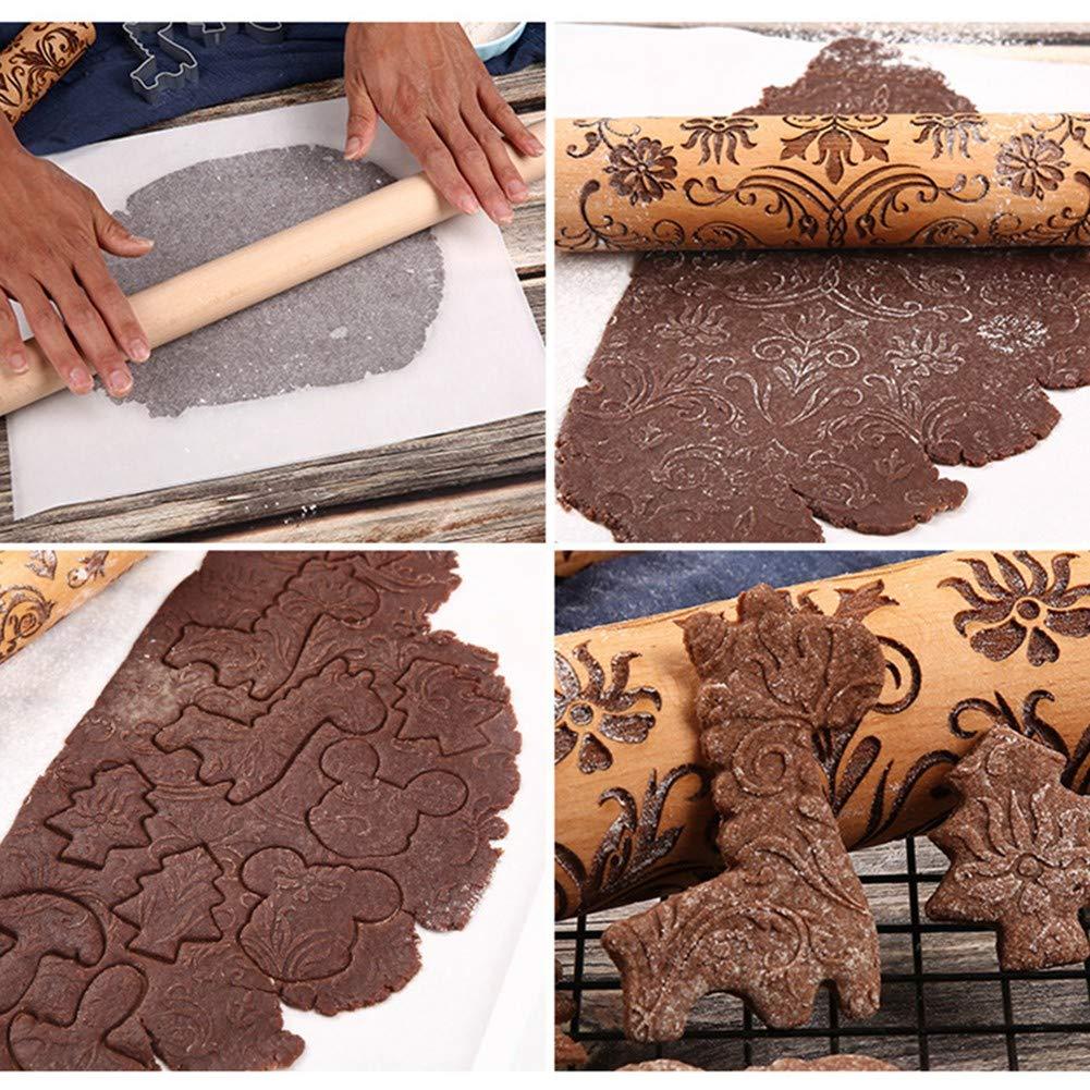 Mattarelli in Legno Goffrato per Cuocere Biscotti in Rilievo1 XIAODIANER Mattarello con Motivi