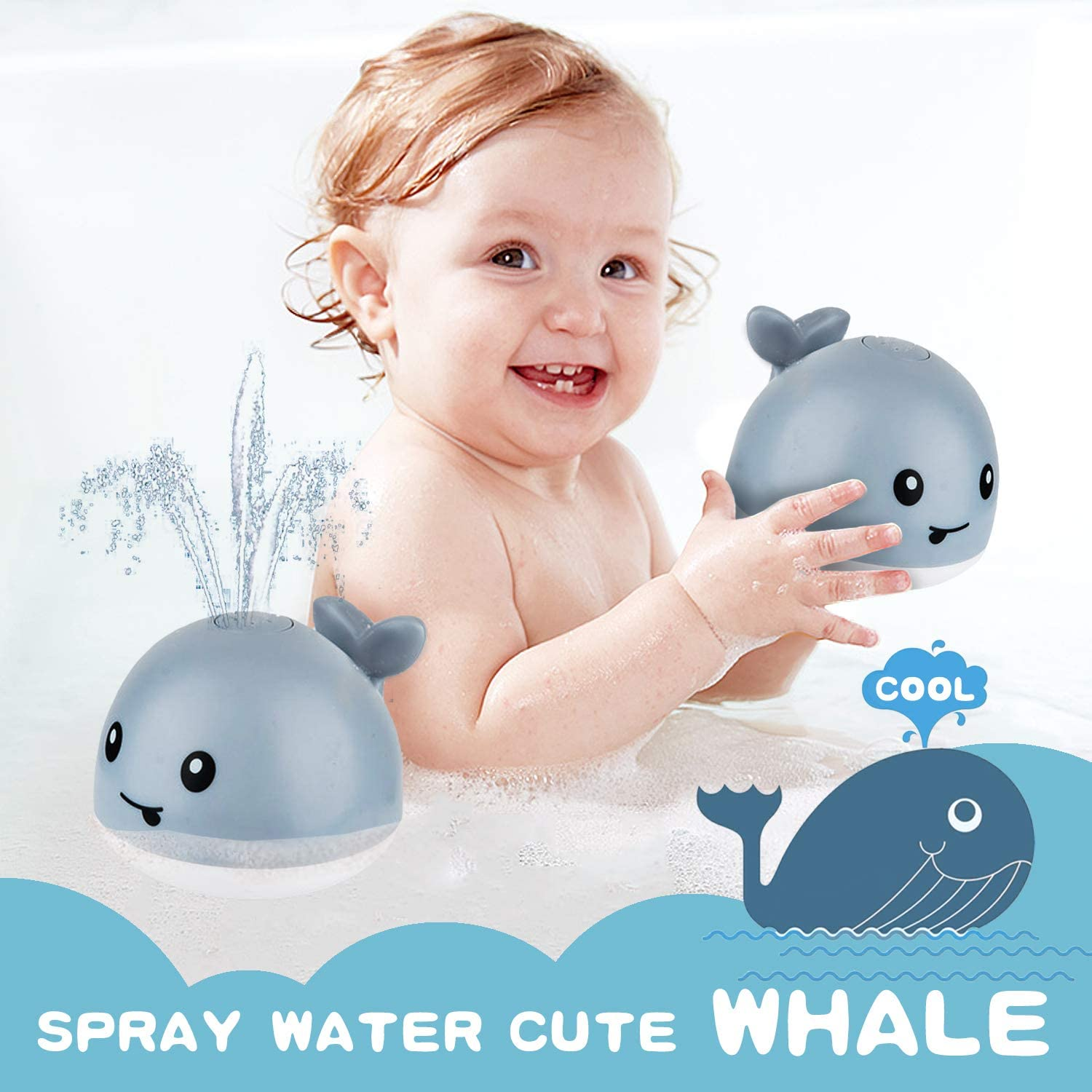 Induction Sprinkler Bathtub Shower Toys for Toddlers Kids Boys Girls ZHENDUO Baby Bath Toys Pool Bathroom Toy for Baby Gray Whale Automatic Spray Water Bath Toy with LED Light