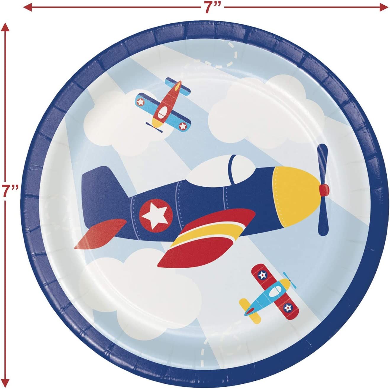 Set of 2 Decorations for 1st Birthday or Preschool Parties Airplane Party Tablecloth and Garland Set Toddler