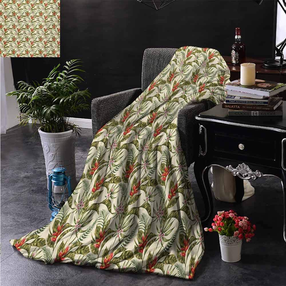 PCNBDJC Multi-Pattern Blanket Leaf Romantic Aloha Pattern with a Vintage Look Birds of Paradise and Plumeria Blossoms Soft to The Touch W60 x L91 Inch Multicolor