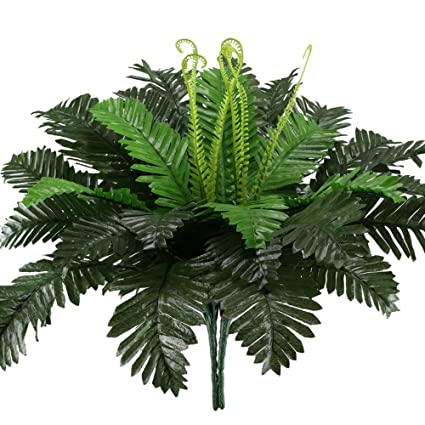 2PCS Artificial Boston Ferns Shrubs Silk Fake Greenery Plants Home Garden Weddin