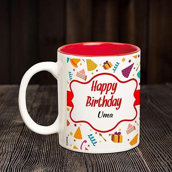 Buy Huppme Happy Birthday Uma Inner Red Coffee Name Mug Online At