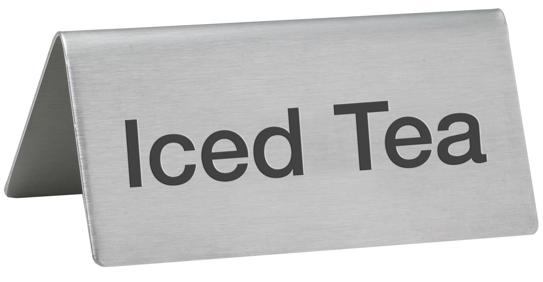 LeRose Stainless Steel Tent Signs ~ Set of 5 ~ ''Coffee'', ''Decaf'', Hot Water'', ''Hot Tea'', ''Iced Tea'' ~ 3'' x 1-1/2'' Beverage Table Display Tent Signs