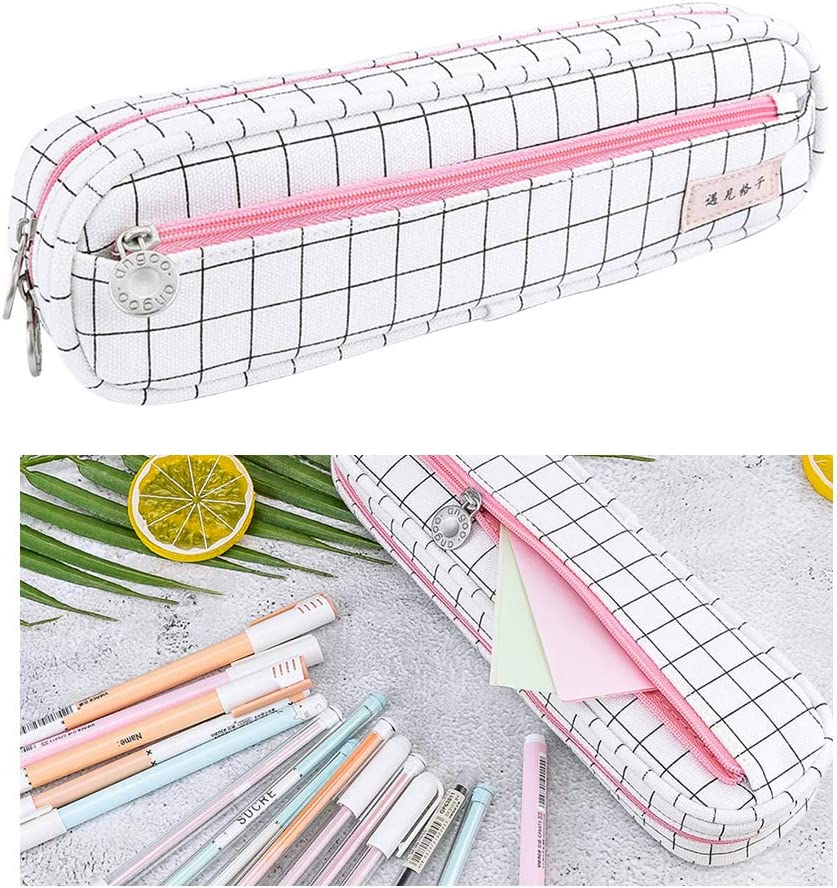 Rolin Roly Trousse Toile Stationery Pencil Case Crayons Scolaire Solide Durable Zipper Coin Organisateur Maquillage Costmetic Pouch Gar/çon Fille Ado 8.5x12x17cm