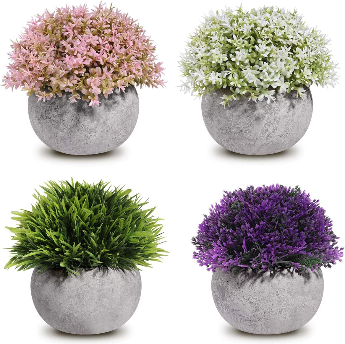 Homemaxs Fake Plants Mini Artificial Plants Potted 4 Pack Topiary Shrubs Plastic Plants for Home Decor