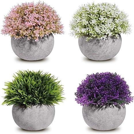 Amazon Com Homemaxs Fake Plants Mini Artificial Plants Potted 4 Pack Topiary Shrubs Plastic Plants For Home Decor