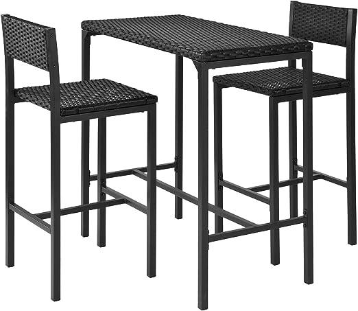 SoBuy® ratán Barra Set – 1 Mesa y 2 taburetes de Bar, Barra de Juego de Muebles de jardín al Aire Libre Patio Set, Negro, ogt07-sch: Amazon.es: Jardín