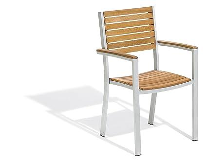 Amazon Com Oxford Garden Travira Aluminum And Teak Armchair 4