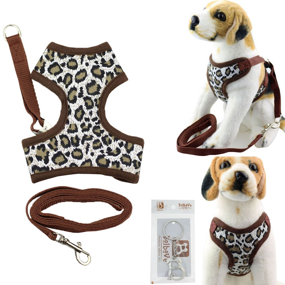 Leopard Print Large Leopard Print Large Bolbove Cute Pet Adjustable Mesh Harness and Leash Set for Small Dogs & Cats (Large, Leopard Print)