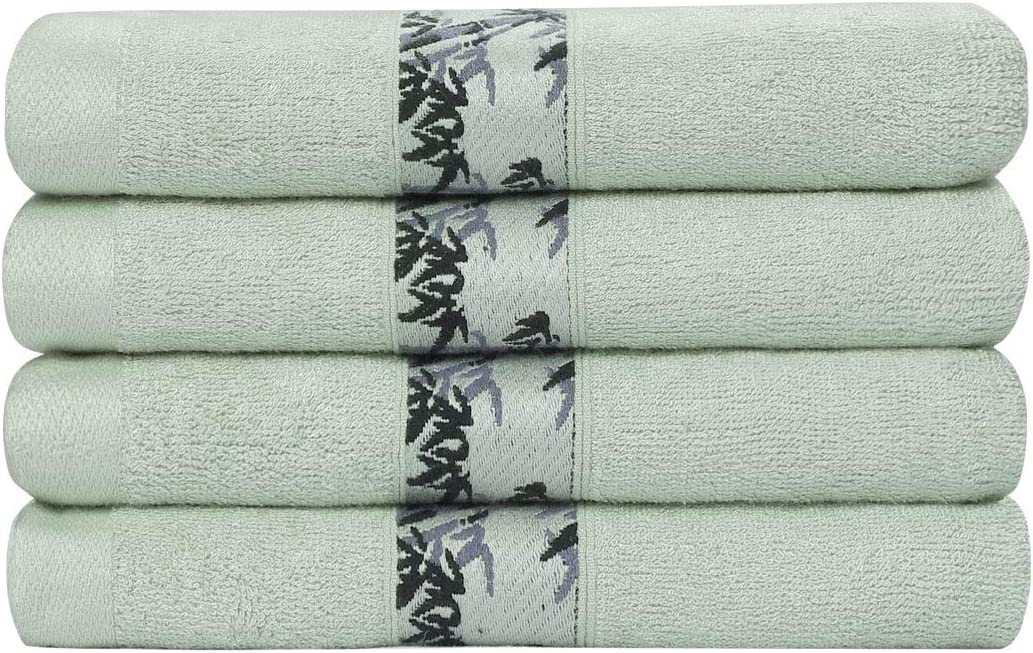 PiccoCasa Bamboo Cotton Bath Towels 4pcs 27x55 Inch Extra Absorbent and Eco-Friendly Luxury Hotel Spa Towel Green