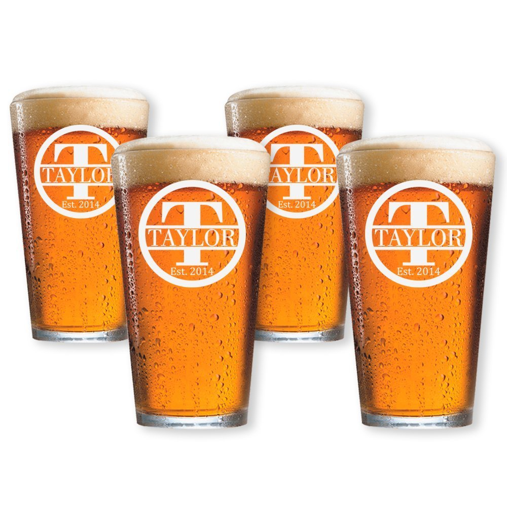 Personalized Beer Glass, Customized Pint Glass, Set of 4 Housewarming Gifts, Wedding Favors, (Pint 16oz.) by Froolu (Image #1)