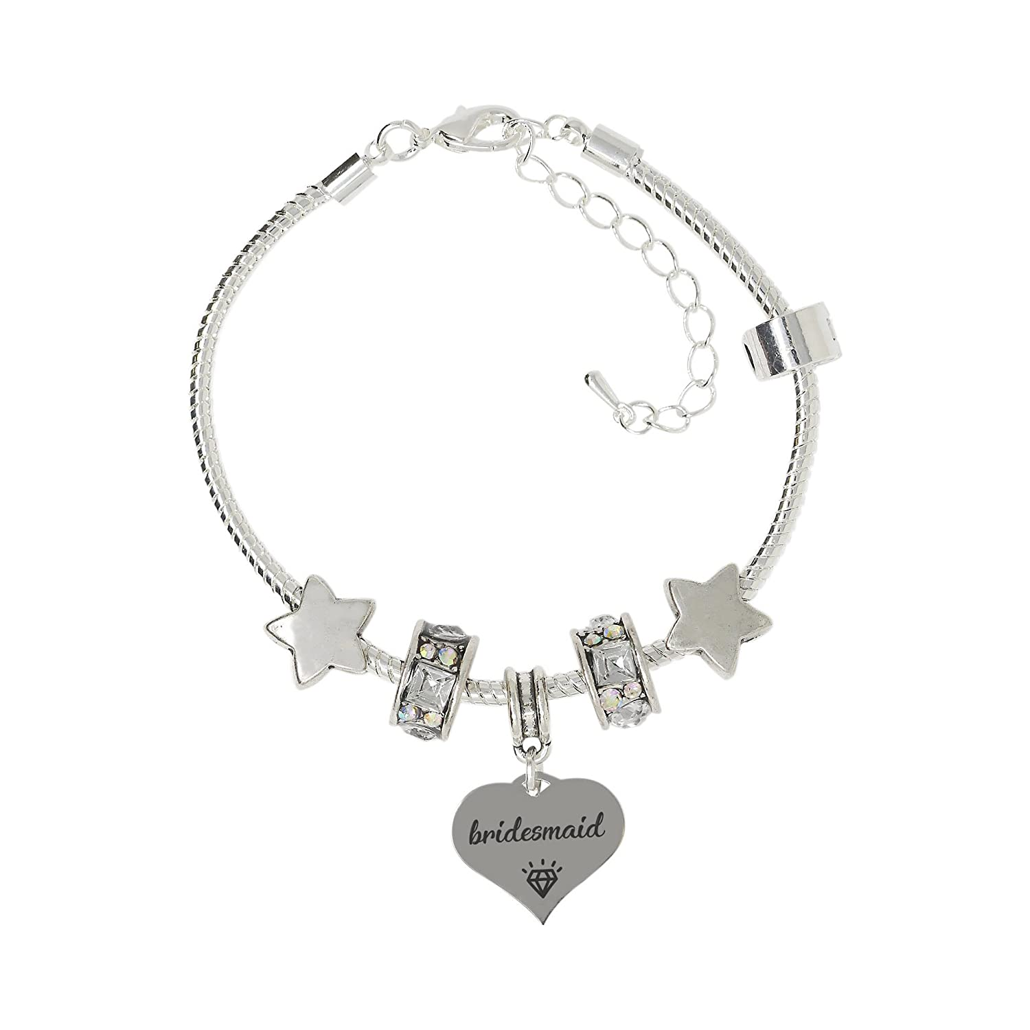 3f23681c4 Amazon.com: Truly Charming Thank You for Being My Bridesmaid Silver Plated  Adjustable Charm Bracelet in A Special Themed Gift Box: Jewelry