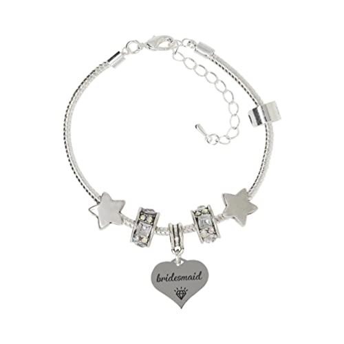 4b5b736df Truly Charming Thank You for Being My Bridesmaid Silver Plated Adjustable Charm  Bracelet in A Special