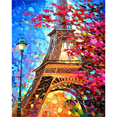 DIY Oil Painting kit, Paint by Numbers kit for Kids and Adults - Eiffel Tower 16x20 inches (Without Frame): Arts, Crafts & Sewing