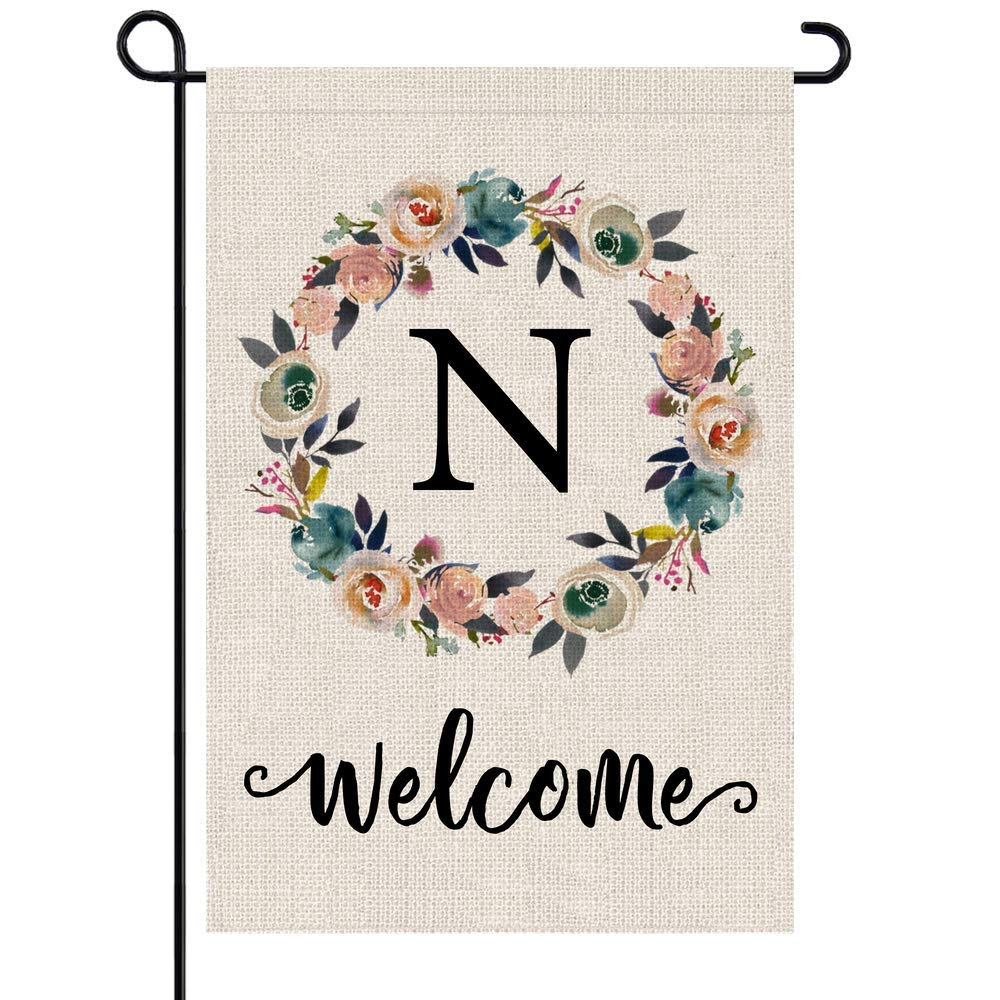 PARTY BUZZ Monogram N Garden Flag, Initial Letter Yard Patio Lawn Flag (12 x 18, Double Sided)