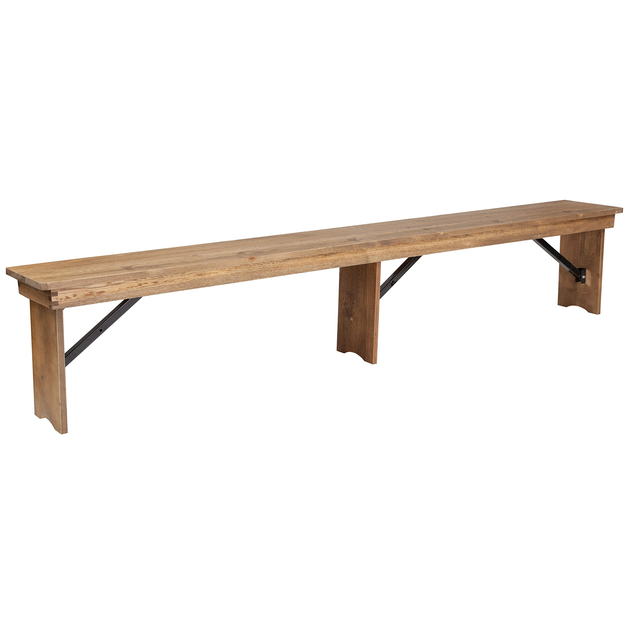 Flash Furniture HERCULES Series 8' x 12'' Antique Rustic Solid Pine Folding Farm Bench with 3 Legs - by Flash Furniture
