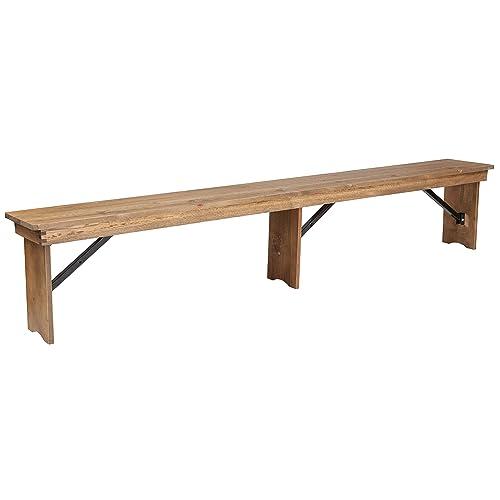 Flash Furniture HERCULES Series 8 x 12 Antique Rustic Solid Pine Folding Farm Bench with 3 Legs -, XA-B-96X12-L-GG