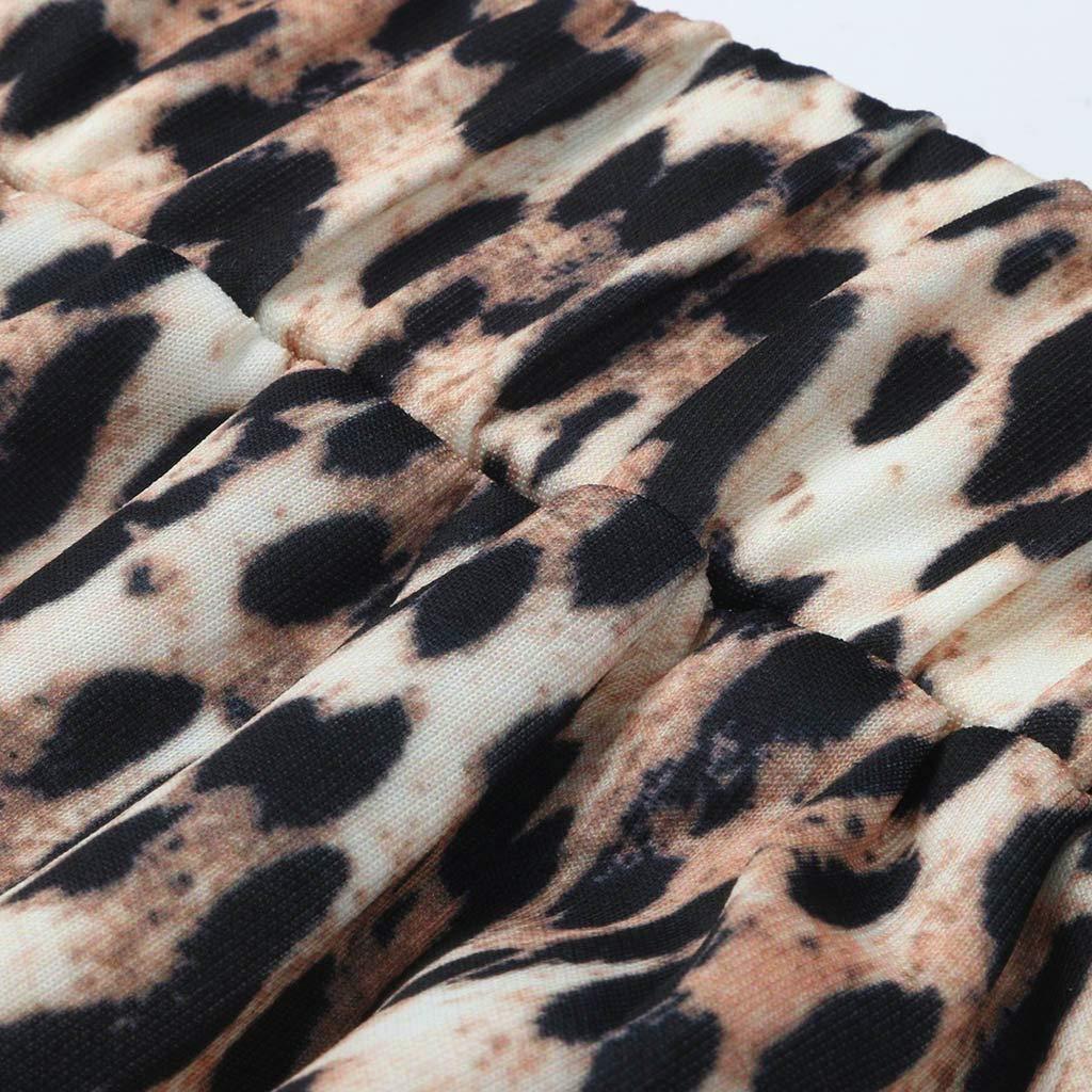 NINGNETI Fiesta De Moda C/óCtel Verano Mujer Leopardo Falda Estampada Falda Midi De Cintura Alta