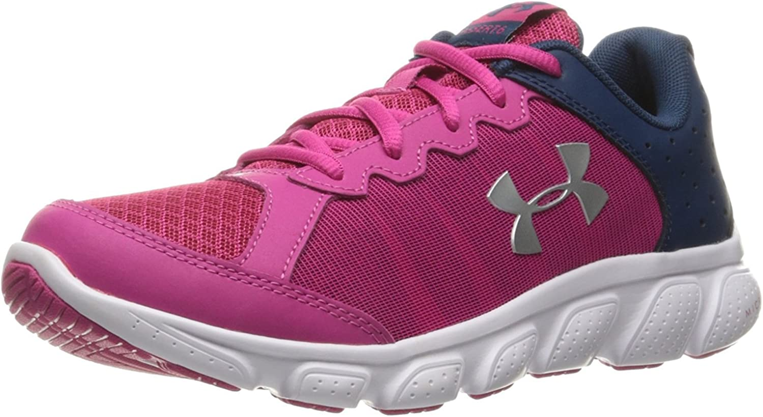Youth Girl/'s Under Armour GGS Micro G Assert 6 Running Shoes Steel//Pink