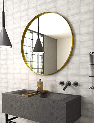 NXHOME Round Gold Wall Mirror Bathroom Decorative Wall Mounted Circle Mirror 32in Metal Frame Glass Vanity Mirror for Living Room Entryway Bedroom