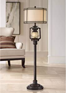 Henson Rustic Industrial Farmhouse Tall Standing Floor Lamp with Night Light Glass Bronze Earthy Fabric Drum Shade Decor for Living Room Reading House Bedroom Home Office - Barnes and Ivy