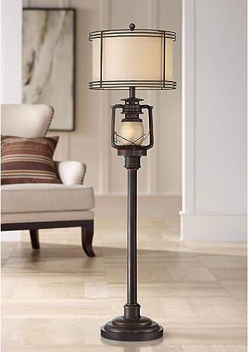 Henson Rustic Industrial Farmhouse Tall Standing Floor Lamp