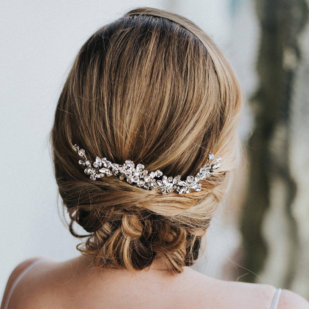 Kercisbeauty Wedding Bridal Bridesmaid Rhinestones Crystal Beads Silver Hair Comb Slide Bun Hair accessory, headpiece hair Jewelry for Prom