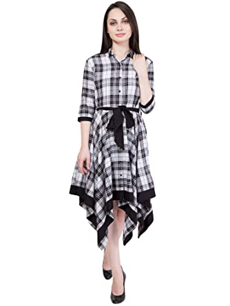 Hive91 Long Checkered Dress for Women, 3/4 Sleeve, Black and White ...