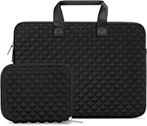 MOSISO Laptop Sleeve Compatible with 13-13.3 inch MacBook Pro, MacBook Air, Notebook Computer, Shock Resistant Diamond Foam Water Repellent Neoprene Protective Case Carrying Bag Cover, Black