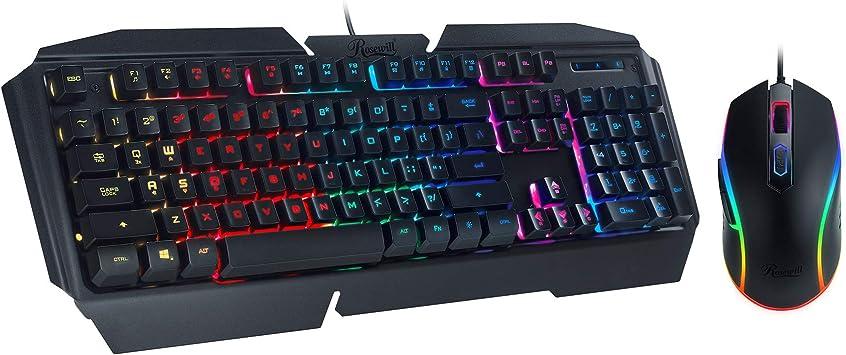 Rosewill Gaming RGB Teclado y Mouse Combo, Rainbow RGB Retroiluminado LED Gaming Mecánico Switch Feel Keyboard W/9 Efectos de iluminación, Ajustable ...